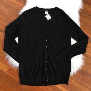 J Crew Black Merino Wool V Neck Cardigan Large NWT